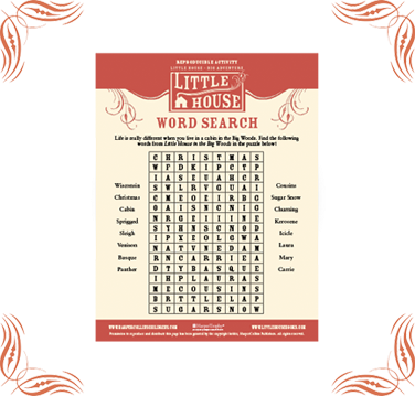 Little House Word Search